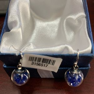 Simulated Blue Sapphire Bead Dangle Earrings